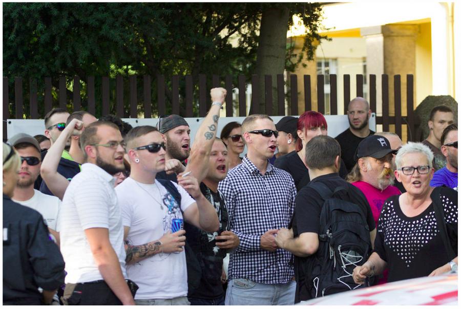 Michel Kunath bei einer Nazikundgebung an der Bremer Straße am 24.07.2015